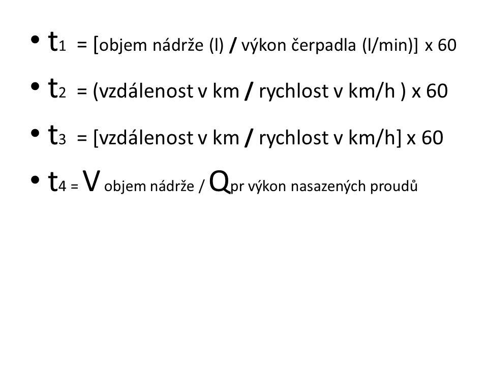 t1 = [objem nádrže (l) / výkon čerpadla (l/min)] x 60